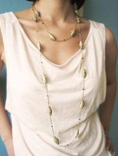 Upcycled Gold/ Cream Handmade Paper Beads Wrap Necklace by RoeDesign