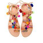 pom pom lace up sandals
