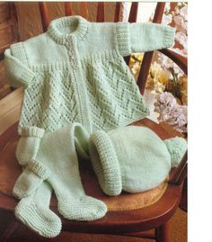 Pdf baby knitting pattern layette pram set matinee coat bobble hat pull ups leggings easy mint green lacy cute Knitting For Kids, Baby Knitting Patterns, Baby Patterns, Double Knitting, Free Knitting, Knitting Projects, Baby Sweater Knitting Pattern, Knitting Wool, Vintage Patterns