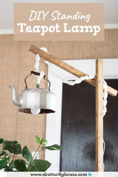 This DIY standing lamp made from an old teapot and some wood was simple to put together and looks fantastic! Easy DIY floor lamp to make in a weekend! Diy Furniture Flip, Thrift Store Furniture, Furniture Projects, Teapot Lamp, Diy Floor Lamp, Floor Standing Lamps, Lamp Cord, Butterfly House, Diy Flooring