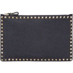 Valentino Navy Large Rockstud Pouch featuring polyvore, women's fashion, bags, handbags, clutches, navy, valentino handbags, leather pouch, genuine leather handbags, navy leather handbag and leather zip pouch