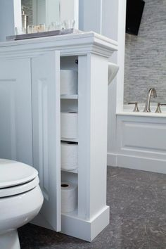 storage space with half wall by toilet - could be open shelf? 28 Bathroom Storage Ideas to Getting Clutter Away Diy Bathroom Remodel, Bathroom Renovations, Bathroom Interior, Decorating Bathrooms, Basement Bathroom, Bathroom Cabinets, Bath Remodel, Bathroom Faucets, Decorating Tips