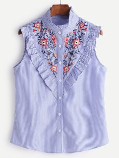 Preppy Striped and Floral Shirt Slim Fit Stand Collar Sleeveless Blue Striped Button Ruffle Trim Embroidered Blouse Shirt Blouses, Shirts, Blouse Online, Embroidered Blouse, Mode Style, High Collar, Blouses For Women, Ladies Blouses, Designer Dresses
