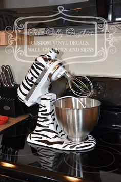 Zebra print decal: Kitchen mixer vinyl decal ZEBRA PRINT decal set by GoodGollyGraphics, $18.00