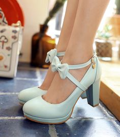 Cross Strap Bow Design High Heels Fashion Shoes on Luulla Cute Heels, Shoes Heels, Dress Shoes, High Shoes, Kawaii Shoes, Chunky Boots, Pretty Shoes, Ankle Straps, Platform Pumps