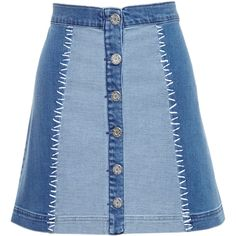 House Of Holland Denim Mini Skirt ($265) ❤ liked on Polyvore featuring skirts, mini skirts, short skirts, plaid skirt, denim miniskirt, tartan skirt and blue plaid skirt