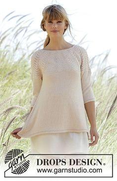 """Gebreide DROPS trui met ronde pas en golvenpatroon van """"BabyAlpaca Silk"""". Wordt van boven naar beneden gebreid. Maat: S - XXXL. Gratis patronen van DROPS Design."""