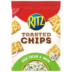 Sour Cream and Onion Ritz Toasted Chips are a crispy twist on the classic cracker you know and love, and are a wholesome snacking choice with less fat than leading regular fried potato chips. Fried Potato Chips, Fried Chips, Toasted Crackers, Ritz Crackers, Oven Baked Chips, Food Shelf, Wheat Thins, Sour Cream And Onion, School Treats