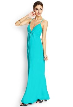 This crepe woven maxi dress features crisscross drawstring straps with self-tie closure. Complete...