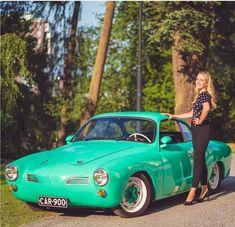Karmann Ghia green and lowered. The painted white wheels and green hubs look great. Porsche 356, Porsche Sports Car, Volkswagen Karmann Ghia, Vw Cars, Car Girls, Fast Cars, Luxury Cars, Cool Cars, Classic Cars