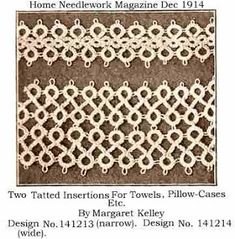 Tatting Pattern Calendar: January 18 - Home Needlework Magazine Insertions #tatting #edging #lace
