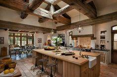 鄉村,廚房,中島,木頭