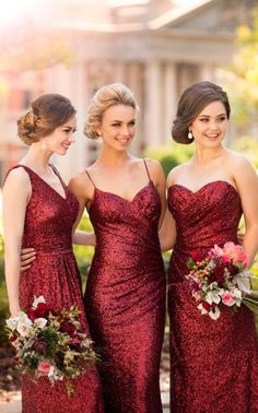 Burgundy sequins bridesmaid dresses,mermaid prom dresses