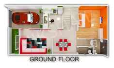 House plan car parking with elevation by nikshail - Nikshail Home Design Duplex House Design, Duplex House Plans, House Front Design, House Design Photos, Small House Design, Small House Plans, 30x40 House Plans, Indian Home Design, Basement House Plans
