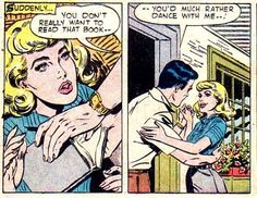 """Comic Boys Say .."""" You dont really want to read that book.... you'd much rather dance with me! """" #Vintage #Comic Pop Art"""