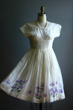 1950s dress with violets