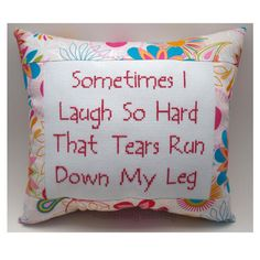 Funny Cross Stitch Pillow, Funny Quote, Pink Pillow, Laugh Quote
