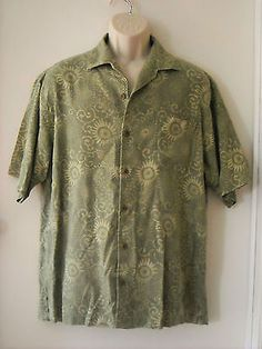 Tommy-Bahama-Green-Floral-100-Silk-Short-Sleeve-Button-Down-Camp-Shirt-Sz-L