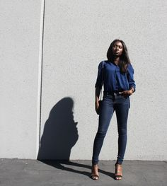 African and Parisian model/blogger Iman in a minimal look.