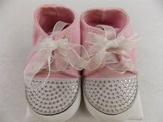 One Ruby Lane Baby Shoes Pink Sneakers with Bling  Size 0-3, 3-6, 6-9, 9-12 Mo #OneRubyLane #CasualShoes