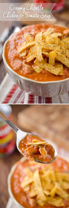 Creamy Chipotle, Chicken & Tomato Soup - Krafted Koch - A lightened up soup recipe with only 7 ingredients you can enjoy in no time! Just skip the tortilla strips
