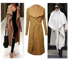 Ladies-Italian-Waterfall-Belted-Long-Sleeve-Drape-Women-Coat-Trench-Celeb-Style