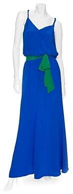 Jay Godfrey Maxi Dress With Colorblock Belt thestylecure.com