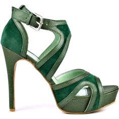 JustFab Women's Taryn - Green (€46) ❤ liked on Polyvore featuring shoes, sandals, heels, green, vegan sandals, heeled sandals, vegan shoes, faux leather shoes and high heel sandals
