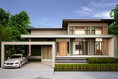 Modern Bungalow House Design, Modern Bungalow Exterior, Small Modern House Plans, Bungalow House Plans, Contemporary House Plans, Dream House Exterior, House Outside Design, House Front Design, Cool House Designs