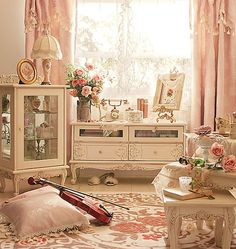 Everything I love..French phone, wool rug, gold easel roses, violin, books, teacups, tea pitcher, feather slippers, perfume bottles, tassel curtains, etc!♥♥♥