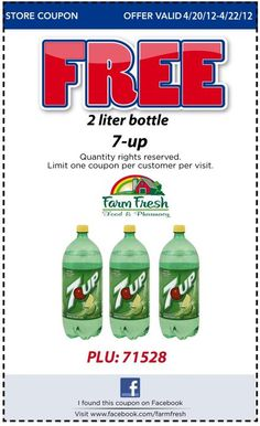 Free Bottle of 7-up 2 liter at Farm Fresh Markets
