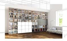 Design Puristisch-weiß Wand-Regalsystem Bücher-raumhoch pari-dispari ...