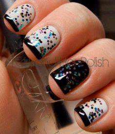 Black & White Nails with Colorful Glitter