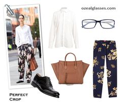 perfect crop for women's fashion ,2013 fall/winter trend ;floral trousers and designer eyewear  #womensfashion #eyewear #eyeglasses #floral
