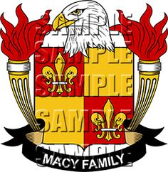 Macy Family Crest apparel, Macy Coat of Arms gifts