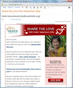 Valentine's Day campaigns from Livestrong / FTD, Heifer International & Food for the Poor. Cause marketing campaign with WWF / Coke. Food For The Poor, Valentine Gifts, Valentines Day, Share The Love, E Cards, International Recipes, Non Profit, Fundraising, Campaign