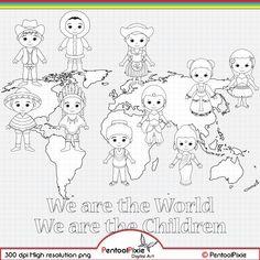 Children around the World Digital Stamp clipart World image 1 Around The World Theme, Kids Around The World, We Are The World, Around The Worlds, Conception Web, Cultural Crafts, Girl Scout Activities, Map Background, World Crafts