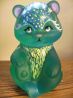 FENTON BLUE/GREEN SATIN BEAR HOLLIE LINN SIGNED.
