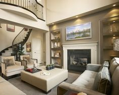 Family Room Two Story Stone Fireplace Design, Pictures, Remodel, Decor and Ideas - page 11