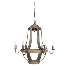 """Creative Co-Op Country 6 Light Candle-Style chandelier Wayfair $395 27""""w x 24""""d"""