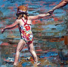 "8"" x 8"", 12"" x 12"", art print, original art, impressionist painting, 'Summer Holiday III'. Seaside Beach Art, Child's Room, Modern Painting. by ClaireMcCallArt on Etsy https://www.etsy.com/au/listing/228905220/8-x-8-12-x-12-art-print-original-art"