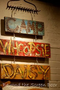 DIY Signs hanging off a Rake Head - Cool! Beyond the Screen Door Camping Signs, Camping Glamping, Diy Signs, Wood Signs, Porches, Rake Head, Mellow Yellow, Garden Rake, Upcycled Garden
