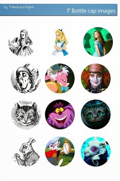 Free Bottle Cap Images: Alice in wonderland bottle cap images free Bottle Cap Projects, Bottle Cap Crafts, Bottle Cap Art, Bottle Cap Images, Beer Bottle, Printable Images, Edible Cupcake Toppers, Edible Cake, Bottle Charms