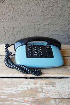 Cool vintage phone. $18.50 # http://www.etsy.com/listing/70062807/vintage-blue-and-black-retro-futuristic