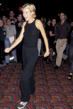 30+ Times '90s Gwyneth Paltrow Was Our Style Crush #refinery29  http://www.refinery29.com/2016/03/106619/gwyneth-paltrow-lookbook-throwback-90s-fashion#slide-13  Boogie Nights Premiere, 1997Here's Gwyn in every downtown girl's current uniform: baggy silk trousers, Adidas Gazelles, and a black tank top. Print it, stick it to your fridge, and remember it looked great almost 20 years ago, too. ...