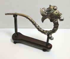 Vintage Burmese Metal Fish Opium Pipe with Wood by Cosasraras, $29.99