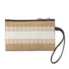 Burlap with Delicate Lace - Shabby Chic Style Coin Purse