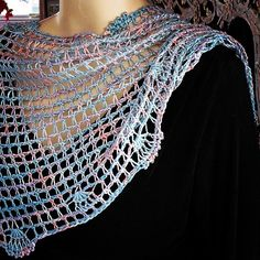 Vashti Braha's Seshen: Beaded Tunisian crochet color game. Handmaiden Silk Sea hand dyed yarn. (Project page and name info in Ravelry).