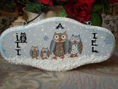 Bagoly család hóesésben, Dekoráció, Karácsonyi, adventi apróságok, Karácsonyi dekoráció, Ünnepi dekoráció, Meska Wood, Christmas, Xmas, Woodwind Instrument, Timber Wood, Navidad, Trees, Noel, Natal