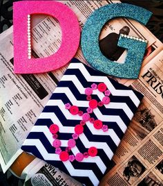 summertime =ΔΓ crafting time ⚓Glitter letters and a button anchor on chevrons? This screams Tori!